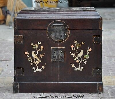 """16"""" Huge Old Chinese Rosewood Inlay Shell Bird Statue Jewelry box drawer cabinet"""