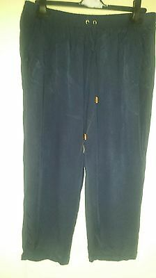 ladies navy soft casual cropped trousers size 14