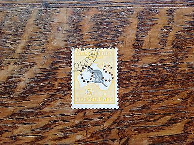 Australia Roo OS Stamp 5s Grey &yellow Sg0118 Used