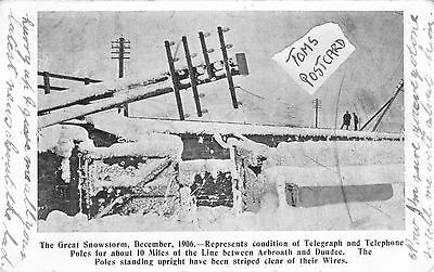 The Great Snowstorm, December 1906. Telegraph Poles , Arbroath & Dundee.