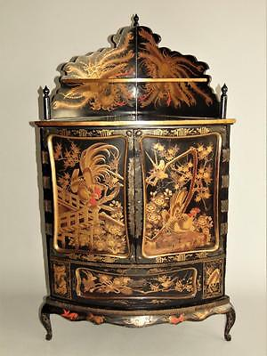 Antique Black Lacquer Chinese Chinoiserie Corner Cabinet