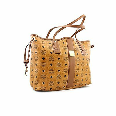 MCM Women's Large Liz Reversible Shopper Tote Handbag Matching Pouch Cognac NEW