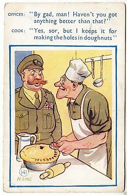 SOLDIER / COOKHOUSE - False Teeth / Dentures - 1951 used military comic postcard