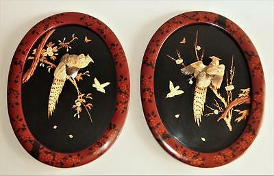 Large Pair of Japanese Meiji Shibayama Plaques with Pheasants