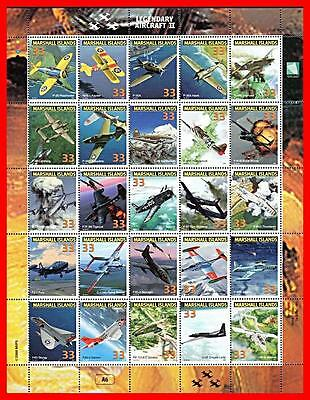 Marshall Is. 1998 Legendary  Planes  M/s #6 Mnh Wwii, Military