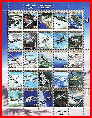 Marshall Is. 1998 Legendary  Planes  M/s #a5 Mnh Wwii, Military