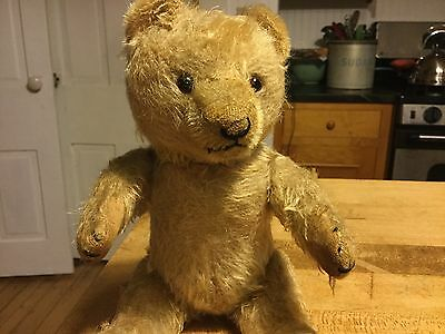 """Antique 1940's Jointed Mohair German Teddy Bear elongated snout  Hump Back 9.5"""""""