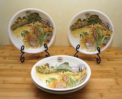 "NWT CERAMICA CUORE Set of 4 ~ 9"" PASTA SALAD SERVING BOWLS SUNFLOWERS  TUSCANY 2"