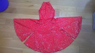 Beautiful Red Sparkly Dance/Lyrical/Ballroom Dress attached pants/Leotard Size 4