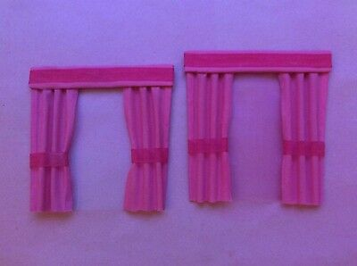 """2 Pink dolls house curtains  4""""X 4"""""""