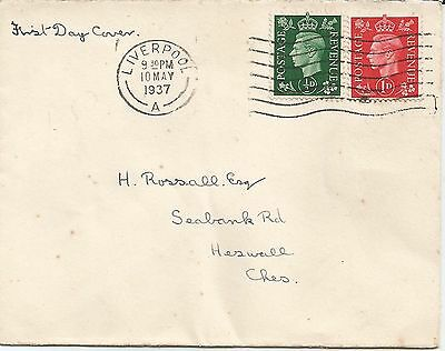 GB KGVI 10 May 1937 FDC with ½d & 1d stamps slogan pmk