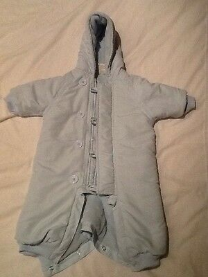 Baby Blue Snowsuit All In 0-3 Month Fluffy Inside