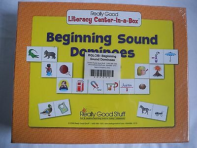 ~NEW~ Really Good Stuff -Beginning Sound Dominoes 'Literacy Center-In-A-Box' K-1
