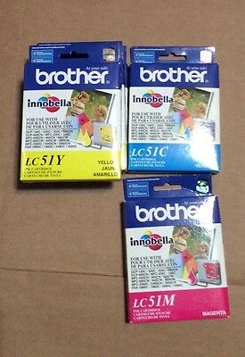 Lot of 5 Gen. Brother LC51C LC51M LC51Y Ink Cartridges New Sealed