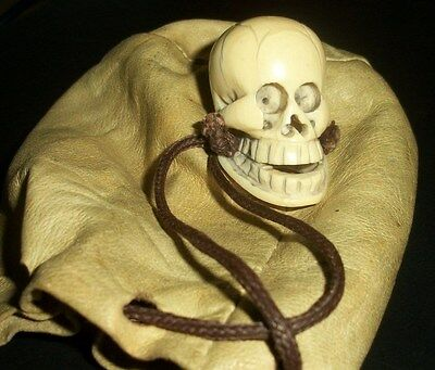 Netsuke Hand Carved Skull With Pouch at least 46 Years Old From My Collection