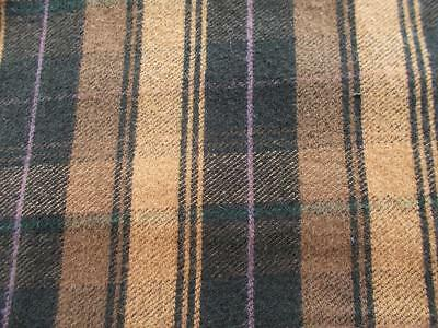 "1.25 yds 84"" wide WOOL woven PLAID upholstery clothing FABRIC Black Brown Craft"