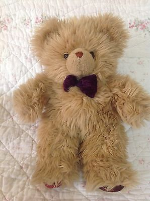 HARRODS Teddy Bear Light Brown Plush, Purple Bow Tie