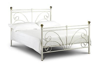 Julian Bowen Cadiz Ivory & Gold Cream Metal Bed Frame King Size 150cm 5FT