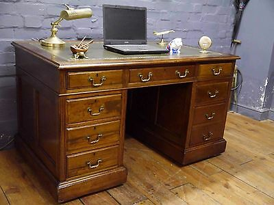 Early 20th Century Antique Mahogany Pedestal Writing Desk New Green Leather Top