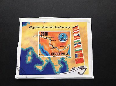 Yugoslavia 1988 Sg#ms2470 Danube Conference Map Miniature Sheet Used On Paper