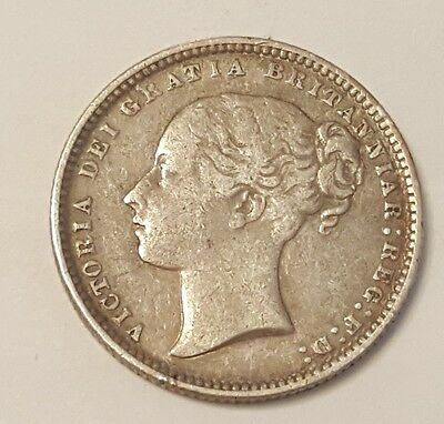 Great Britain 1874 Die#10 Victorian Shilling Silver In Xf Condition!!