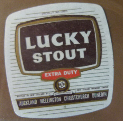 Vintage New Zealand Beer Label - N.z Breweries, Lucky Extra Duty Stout