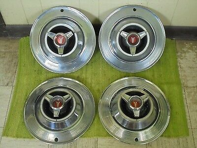 "1964 Plymouth Spinner Hub Caps 14"" Set of 4 Mopar Wheel Covers Hubcaps 64"
