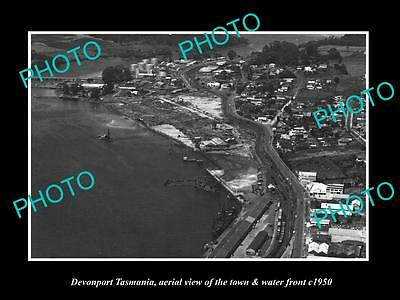 OLD LARGE HISTORIC PHOTO OF DEVONPORT TASMANIA, AERIAL VIEW OF TOWN c1950