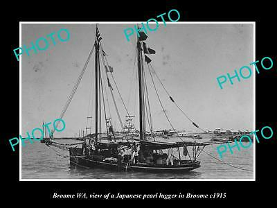 OLD LARGE HISTORIC PHOTO OF BROOME WEST AUSTRALIA, PEARL LUGGER IN HARBOUR c1915