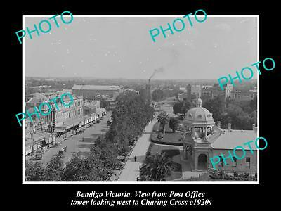 Old Large Historic Photo Of Bendigo Victoria, Looking West To Charing Cross 1920