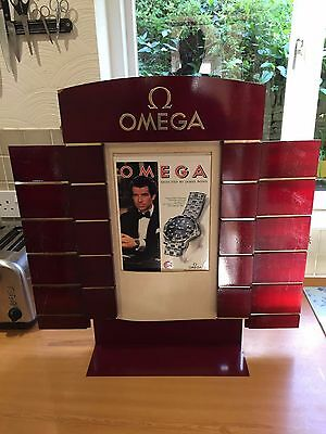 """24"""" Tall 1995 Omega Watch James Bond Promotional Two-Sided Shop Display Stand"""