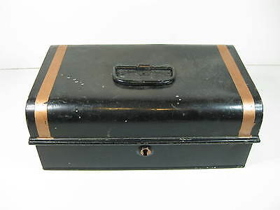 vintage Edwardian LARGE heavy tin / metal cash box money tin with compartments