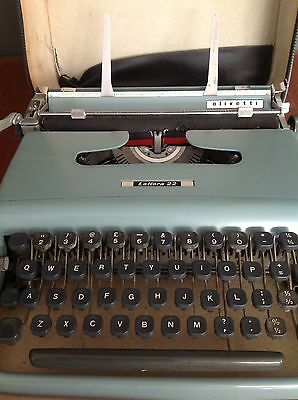 Retro Olivetti Letters 22 Portable Typewriter In Case Full Working Order