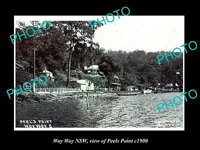 OLD LARGE HISTORIC PHOTO OF WOY WOY NSW, VIEW OF PEELS POINT c1900