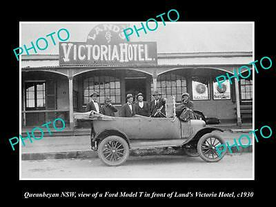OLD LARGE HISTORIC PHOTO OF QUEANBEYAN NSW, VIEW OF THE LANDS HOTEL c1930