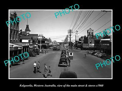 Old Large Historic Photo Of Kalgoorlie Wa, View Of The Main Street & Stores 1960