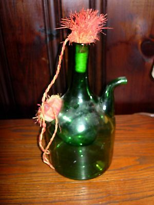 Vintage Green Glass Sangria Decanter W/ Ice Holder Built In