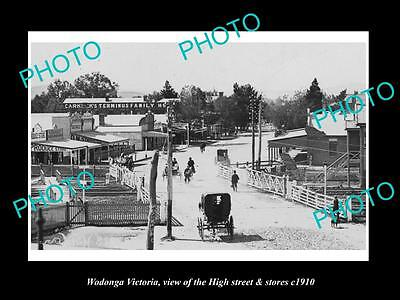OLD LARGE HISTORIC PHOTO OF WODONGA VICTORIA, THE MAIN St & STORES c1910