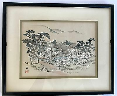 Original 1891 Japanese Woodblock Landscape Print Sign Seal Framed Matted