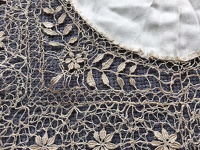 Antique Hanky Wedding Lace Bridal English Bedfordshire Silk Linen Bobbin Cluny