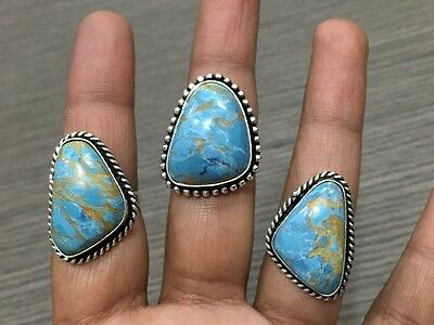 WHOLESALE LOT 3 pcs COPPER TURQUOISE STONE.925 SILVER PLATED RINGS 26 GMS