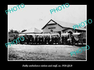 Old Large Historic Photo Of Dalby Queensland, Town Qatb Ambulance Station 1926