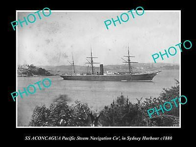 OLD LARGE HISTORIC PHOTO OF PACIFIC STEAM NAVIGATION Co SHIP SS ACONCAGUA c1880