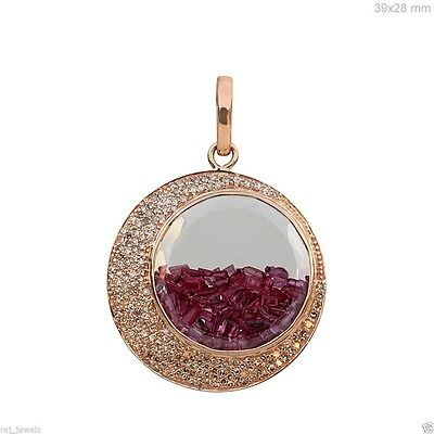 Solid 14k Rose Gold CRESCENT MOON Ruby Shaker Pendant Diamond Pave Jewelry BY