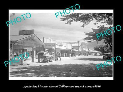 OLD LARGE HISTORIC PHOTO OF APOLLO BAY VICTORIA, COLLINGWOOD St & STORES c1940