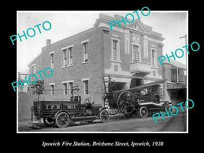OLD LARGE HISTORIC PHOTO OF THE IPSWICH QLD FIRE BRIGADE STATION c1920