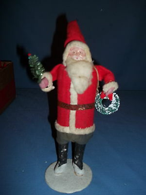 """Red Coat Santa Christmas 10""""Tall. bottle brush tree bear& soldier,Celluliod Face"""
