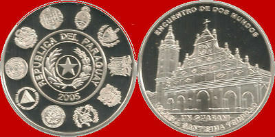 *Lucernae* Paraguay - 1 guarani  silver 2005. Conmemorative Issue. Church.