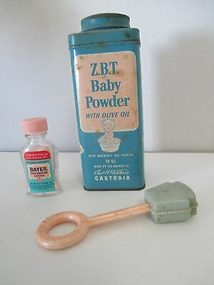 Vintage Z.B.T Baby Powder, Heinz 57 Baby Rattle, and Bayer Children'd Aspirin