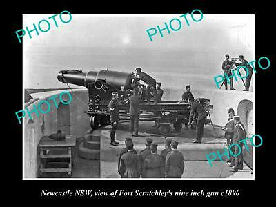 OLD LARGE HISTORICAL PHOTO OF NEWCASTLE NSW, FORT SCRATCHLEYS 9 INCH GUN c1890 1